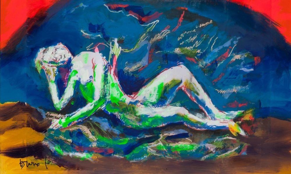 dario-fo-i-ritmi-e-il-colore-di-chagall-2015-tecnica-mista-su-tavola-56x45-cm-credits-archivio-franca-rame-e-dario-fo